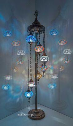 Colorful Handmade Mosaic Glass Floor Lamp, Turkish Mosaic Floor Lamp, Moroccan Lantern, Bedside Floor Lamp, 7 Pcs Customizable Glasses H Moroccan Floor Lamp, Moroccan Ceiling Light, Moroccan Lanterns, Moroccan Decor, Moroccan Style, Moroccan Bedroom, Moroccan Interiors, Modern Moroccan, Glass Floor Lamp