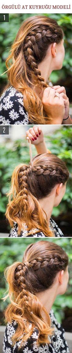 Örgülü At Kuyruğu Saç Modeli @kadinedio #kadın #kadin #women #woman #saç #saçmodeli #sacmodeli #hairstyle #hair