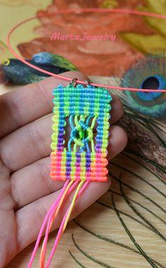 A Colorful Macrame Pendant by MartaJewelry