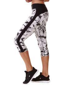 Look what I found on #zulily! White & Black Ink Blot Performance Capri Leggings #zulilyfinds