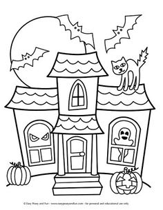Halloween Coloring Pages - Easy Peasy and Fun Haunted Mansion Coloring Page Bricolage Deco Halloween, Moldes Halloween, Halloween Crafts For Kids, Halloween Activities, Halloween Themes, Halloween Fun, Halloween Crafts Kindergarten, Easy Halloween Drawings, Kids Crafts