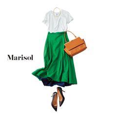 きれい色スカートにはシンプルな白Tシャツを選べば絶対ハズさない!Marisol ONLINE|女っぷり上々!40代をもっとキレイに。 Japanese Outfits, Japanese Fashion, Asian Fashion, Love Fashion, Fashion Trends, Modest Fashion, Skirt Fashion, Fashion Dresses, Fashion Capsule