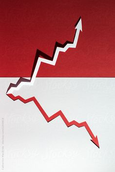 A zig-zag paper arrow grows in opposite directions on a red and white background. Zig Zag, Arrow, Red And White, Symbols, The Unit, Stock Photos, Paper, Icons