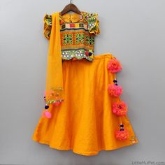 Pre Order: Orange Ghagra Choli With Dupatta Kids Dress Wear, Kids Gown, Baby Dress, Frocks For Girls, Dresses Kids Girl, Kids Outfits, Weird Fashion, Kids Fashion, Gagra Choli