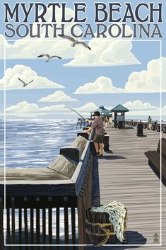 Myrtle Beach, South Carolina - Pier Scene - Lantern Press Artwork (Art Print Available)