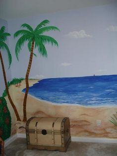 ocean mural for pirate themed child's room Ocean Mural, Beach Wall Murals, Sea Murals, Pirate Nursery Themes, Pirate Theme, Bedroom Murals, Bedroom Themes, Bedrooms, Ocean Themes
