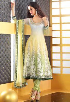 Off White, Yellow and Pista Green Anarkali Net Churidar Kameez @ $140.15