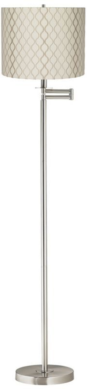 Embroidered Hourglass 60 1/2-Inch-H Swing Arm Floor Lamp - #EU42316-K4306 - Euro Style Lighting