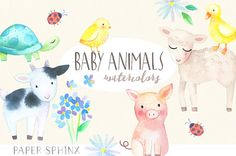 13 baby springtime farm animals, hand-painted in watercolors. Includes lamb, turtle, pig, goat, bunny, chick, ducks, ladybug and flowers. The graphics are hi-res and perfect for both digital and print use.  Use these elements for baby showers, nursery, digital scrapbooking, event invitations, wall art, greeting cards, gift tags, party supplies, web sites, labels and so much more!  -----DIGITAL INSTANT DOWNLOAD-----  With Etsys Instant Downloads, you can download these files through your…
