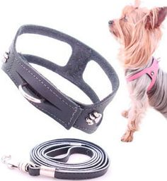 Dog Harness No Choke Leather Step In Black (Not A Collar) /PuttinOnTheDogShop.com