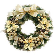 Christmas Wreath Garland Ornaments Arcades Hotel Christmas Decorations 40cm gold *** Read more  at the image link.