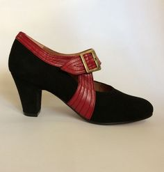 """""""DECO"""" - a smart 1920's style pump with an arching monk strap and buckle and art deco detail stitching."""