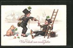 tolle AK Schornsteinfeger trinken Wein, Glücksschwein mit Kleeblatt, Neujahr in Sammeln & Seltenes, Ansichtskarten, Motive | eBay
