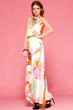 Multi Malibu Floral Maxi Dress by Honey  Black platforms Dress length