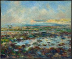 Low Tide Yport 1883 by Pierre-Auguste Renoir. Museums: The Clark Art Institute. Medium: oil on canvas; Pierre Auguste Renoir, Impressionist Landscape, Impressionism, Van Gogh, Renoir Paintings, Clark Art, Oil Canvas, Oil Painting Reproductions, Photo Art
