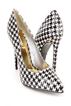 Look sexy yet stunning in these cute denim single soles, includes a two tone houndstooth print, faux leather fabric, pointy close toe, u-shape vamp, cushion foot-bed and a smooth finished. Approximately 4.75 inch heel.