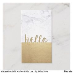 Modern Chic Gold Marble Handwritten style font 'hello' Website Content Writer Square Business Card & more. Easy to Customize. Square Business Cards, Vertical Business Cards, Minimalist Business Cards, Minimalist Chic, Luxury Website, Gold Marble, Corporate Identity, Handmade Shop, Stationery