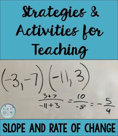 Slope has great connections to the world around us, and it tends to bring out my creative side.  Liven up your lessons on slope and rate of change with storytelling, demonstrations, classroom activities, and differentiated practice!  By Free to Discover.