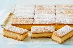 A creamy Caramilk custard filling sandwiched between Malt 'o' Milk biscuits - what's not to love about this no-bake slice? Tea Recipes, Cupcake Recipes, Sweet Recipes, Baking Recipes, Dessert Recipes, Recipies, Custard Slice, Custard Filling, No Bake Slices