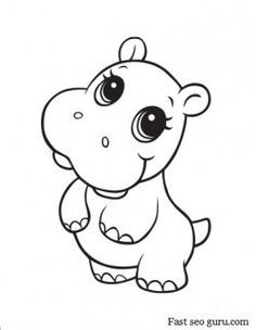 printable baby hippo coloring pages