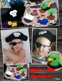 Kid's Crocheted Pirate Playset by KikkinKazKreations on Etsy