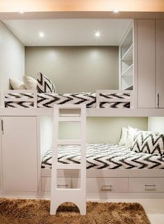 Home Decoration: Guest Room – Contemporary bunk room features white built in bunk beds, with top bunk bed fitted with modular shelves, dressed in white and gray chevron bedding. Room Design, Bedroom Decor, Kids Bedroom, Bed, Home, Bunk Beds Built In, Loft Spaces, White Bunk Beds, Bedroom Design