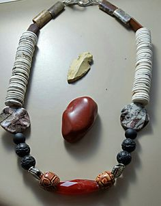 Fire Crackle and White Turquoise Heishi Beads Necklace