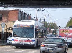 SEPTA New Flyer trackless trolley at Pratt&Frankford. New Flyer, Public Transport, Transportation