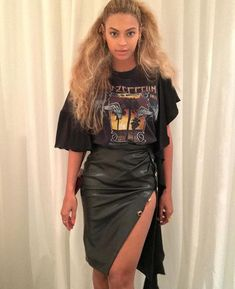 """Splurge: Beyonce €™s Kanye West Concert House of CB Maja Charcoal Vegan Leather Thigh Split Skirt <a class=""""pintag"""" href=""""/explore/leather/"""" title=""""#leather explore Pinterest"""">#leather</a>"""