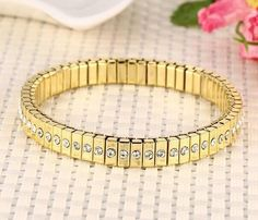 Women White Crystals Cz Bangle Stainless Steel Spring Bracelets Chain Bling Gold
