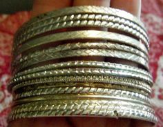 Vintage Silver Bangle Bracelets Set of 15 Ultra Thin by gammiannes, $15.00
