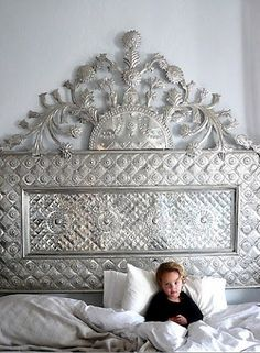 Tin headboard - Interior Design - Home Decor - Dream Bedroom, Home Bedroom, Master Bedrooms, Bedroom Ideas, Bedroom Suites, Design Bedroom, Bedroom Decor, Shabby Chic Bedroom Furniture, Mirror Furniture