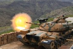 Turkish armored troops A shooting tank