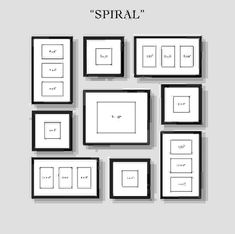 Picture Frames On Wall Layouts. Spiral Gallery Wall Layout Tip Start With Placing The Center Frame And Then Picture Frames On Layouts M Organisation Des Photos, Organization, Photowall Ideas, Images Murales, Gallery Wall Layout, Gallery Walls, Gallery Gallery, Ikea Gallery Wall, Gallery Wall Frame Set