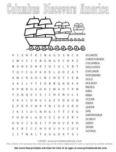 Columbus Day Wordsearch : Printables for Kids – free word search puzzles, coloring pages, and other activities