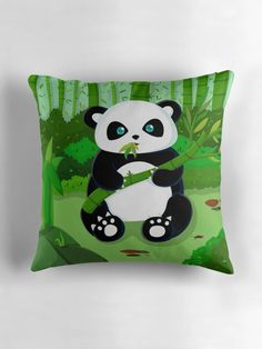 """""""Panda Munching on Bamboo"""" Throw Pillows by ZaryaKiqo 
