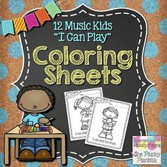 12 Music Kids I Can Play Coloring Sheets