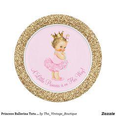 Princess Ballerina Tutu Pink Gold Baby Shower 7 Inch Paper Plate