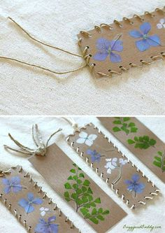 DIY Bookmarks Using Pressed Flowers and Leaves