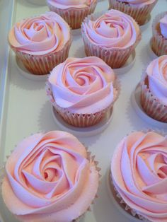 Baby shower pink rose strawberry cupcakes