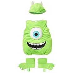 Disney Boys' 3 Piece Green Monsters, Inc. Mike Wazowski Halloween Costume with Hat and Foot Covers