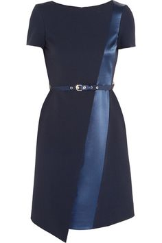 Matthew Williamson Satin-trimmed Crepe Dress - Matthew Williamson splices this classic navy crepe dress with an asymmetric satin panel - it flatters and elongates the silhouette. The slim belt adds extra definition and draws attention to your waist. Wear this piece for evening with metallic heels.