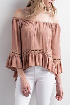 4307306105504 Chlah Crochet Off-Shoulder Top. Shoptiques