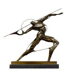 Bronzefigur im Stil des Futurismus – Kämpfer mit Speer – sign. Umberto Boccioni