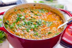 Spinach lentil soup recipe with green lentils, diced tomatoes and lots of parmesan cheese i Healthy Stew Recipes, Lentil Soup Recipes, Vegan Lunch Recipes, Chicken Breast Recipes Healthy, Healthy Family Meals, Healthy Soup, Family Recipes, Spinach Lentil Soup, Slow Cooker Soup