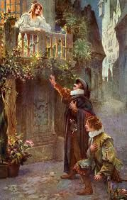 """""""Love, I love beyond breath, beyond reason, beyond love's own power of loving!"""" Edmond Rostand, French (1868-1918) in the balcony scene in Act III of  Cyrano de Bergerac. Artist unknown."""