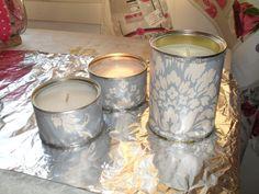 tapeettia + säilykepurkki +kynttilänpätkiä + glitteriliimaa = purkkikynttilät