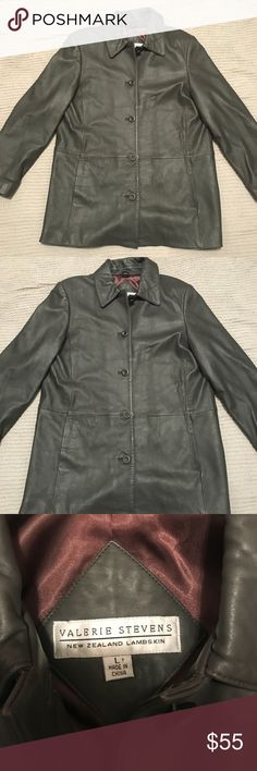 Valerie Stevens Gray Leather Coat. Gorgeous and soft Valerie Stephens New Zealand Lambskin leather coat.  100% leather!    Inside lining is brown (materials for lining are acetate and nylon).   Beautiful way to stay warm this winter! Valerie Stevens Jackets & Coats Blazers