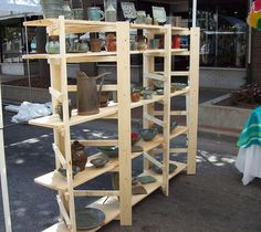 Groovy folding shelves we've had shelves like these for ye. Vendor Displays, Craft Booth Displays, Market Displays, Display Ideas, Retail Displays, Merchandising Displays, Craft Show Booths, Craft Show Ideas, Craft Markets
