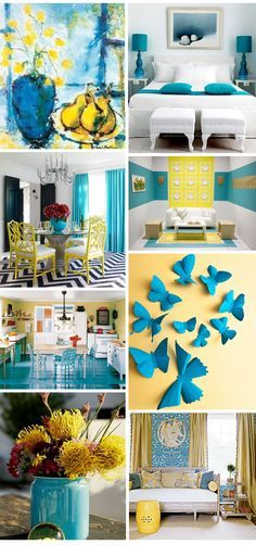 Yellow and teal accents in a grey and white room. Description from pinterest.com. I searched for this on bing.com/images